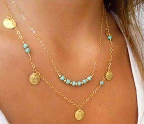Multilayer Gold Boho Necklace with Turquoise Beads