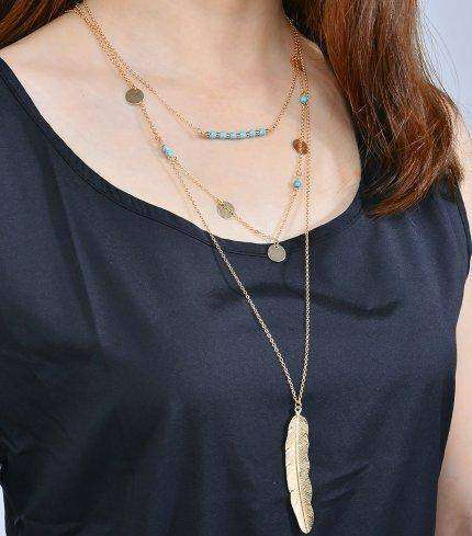 The Hippie Multi Layered Necklace with Feather and Turquoise beads