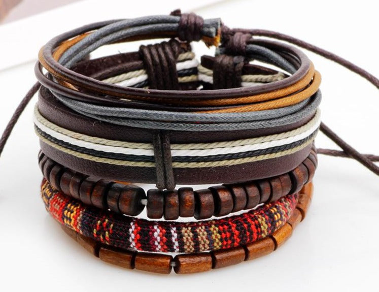 Brown  with Woven Colored rope with Dark Wooden Beads Multi-layer Bracelet