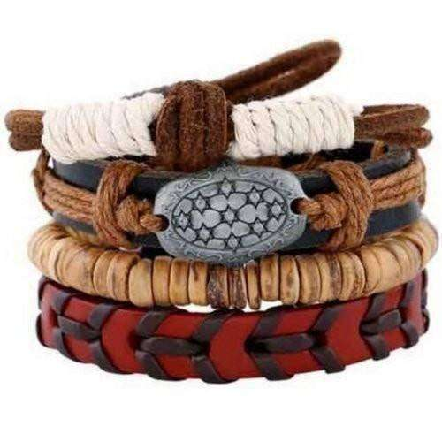 Mystic Star, Coconut Shell Bead And Red Leather Multilayer Bracelet Set