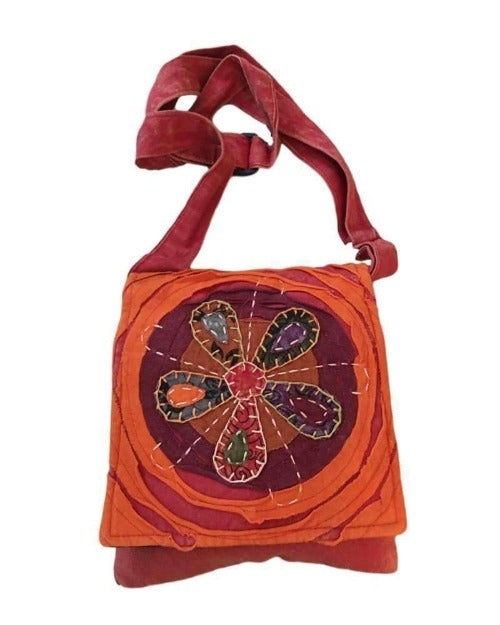 Nature's Geometry Orange and Red Colorful Flower Passport Bag