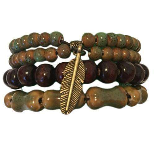 Organic Green Ceramic And Wooden Beads With Feather Charm Bracelet Set