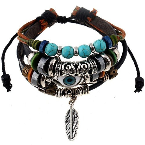 Boho Gypsy Brown Leather Feather and Seeing Eye  Charms  Bracelet