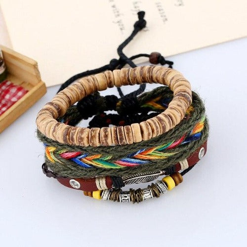 Feather Charm Rainbow Beaded Multilayer Bracelet