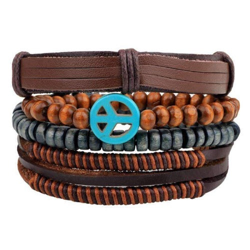 Turquoise Peace Charm Beaded Leather Multilayer Bracelet Set