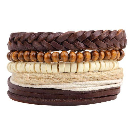 Brown And Cream Hemp, Bead And Braided Leather Multilayer Bracelet