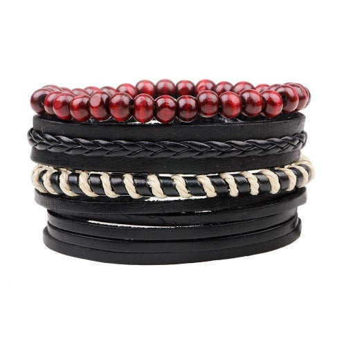 Wild Zebra Stripe, Red And Black Leather Multilayer Bracelet Set