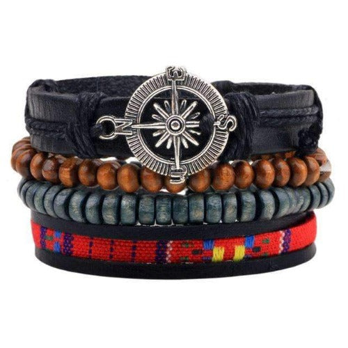 """Here and There"" Compass Charm, Bead and Leather Multilayer Bracelet Set"