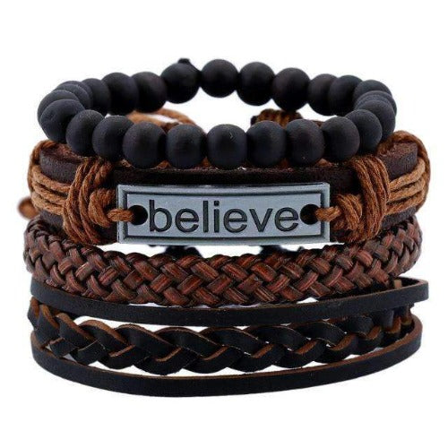 """Believe"" Inspirational Braided Black Leather Multilayer Bracelet Set"