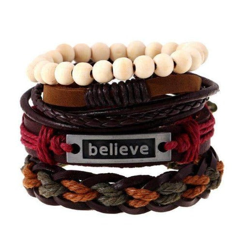 """Believe"" Inspirational Red Braided Leather Multilayer Bracelet Set"