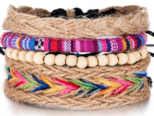 Rainbow Magic Braided Hemp  Multi-layer White bead Bracelet Set