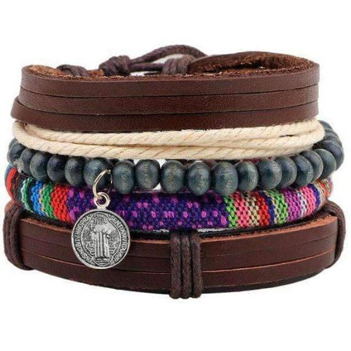 Rainbow With Charm Multilayer Leather Bracelet Set