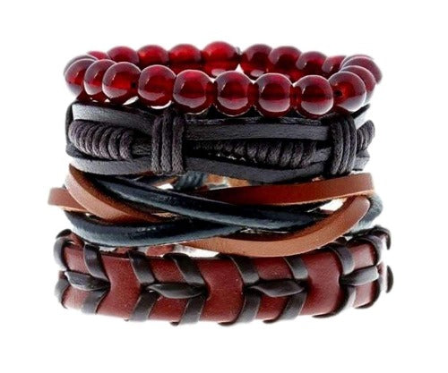Red and Black Multilayer Leather, Bead and Hemp Boho Hippie Bracelet Set with Canvas Gift Bag