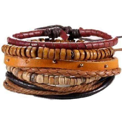 Red And Earth Tones Bead, Hemp And Leather Bracelet Set