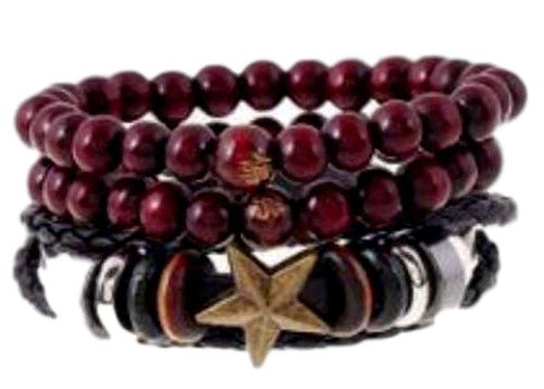 Scarlet Red Wooden Beads with Star and Silver Charm Accent Bracelet
