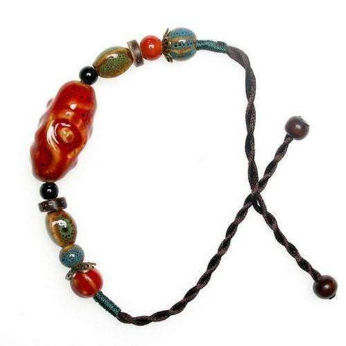 Red Ceramic And Hemp Cord Adjustable Bracelet