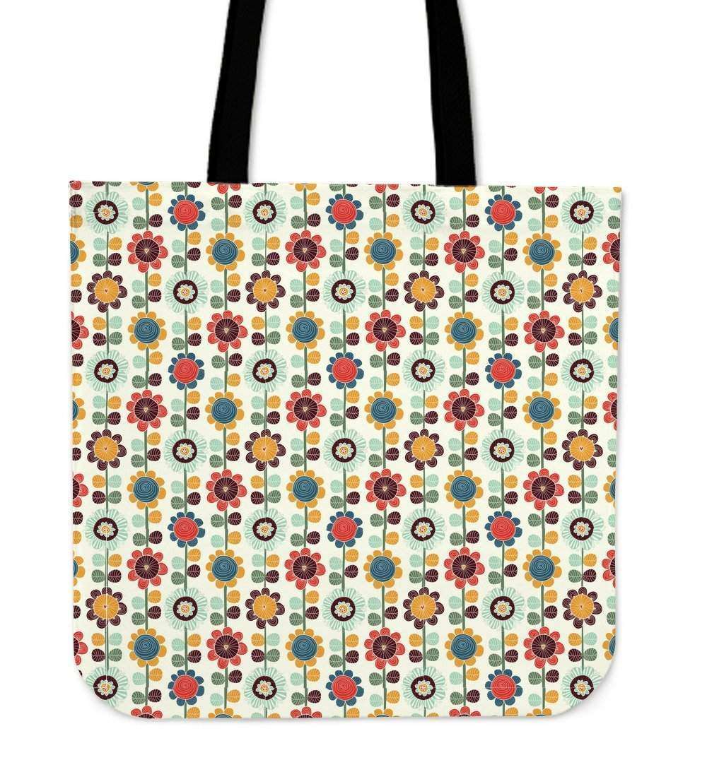 Retro Flowers Boho Tote Bag
