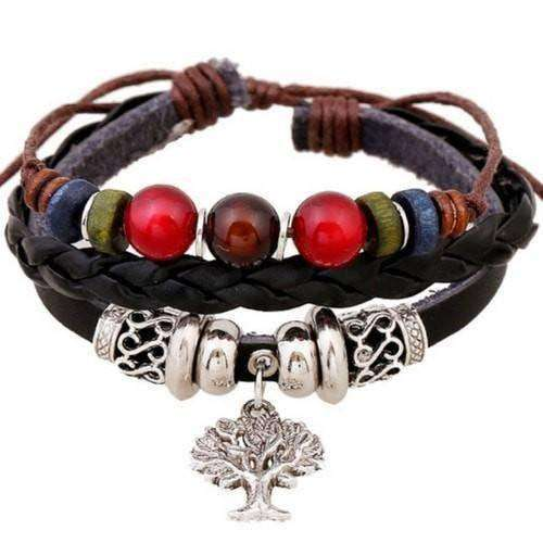 Silver Bead Leather Bracelet With Freedom Tree Charm