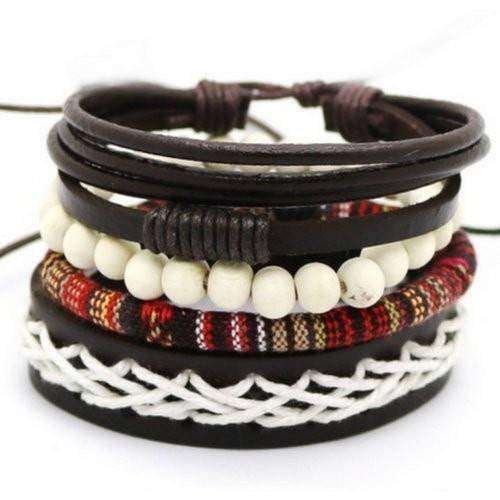 Simplicity Red, Black And White Leather Multilayer Bracelet Set