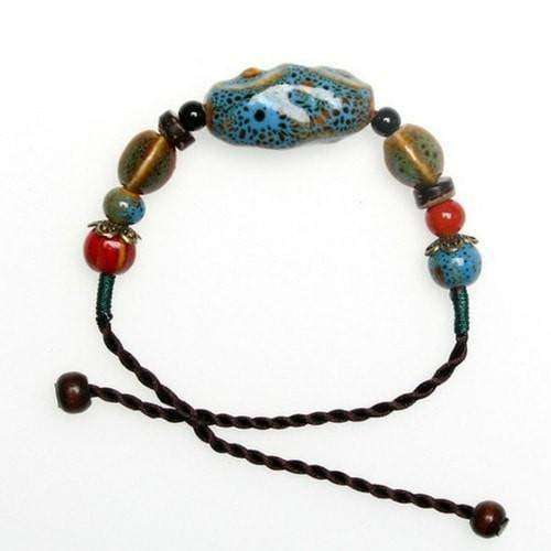Sky Blue Ceramic And Hemp Cord Adjustable Bracelet