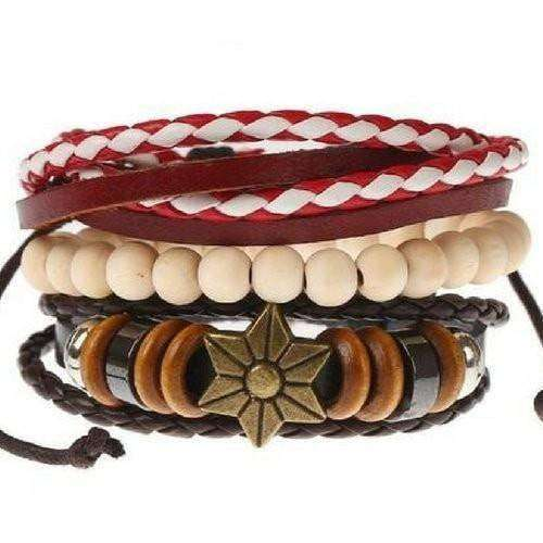 Star Symbol Red And White Beaded Leather Multilayer Bracelet Set