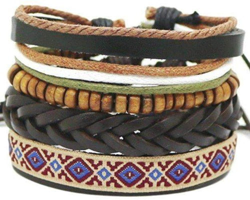 Multicolor and Coconut Bead Leather Surfer Hemp Hippie 4 Piece Bracelet Set