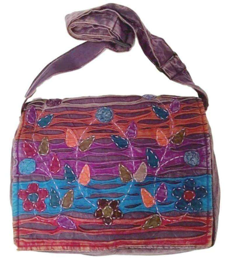 Trailing Tulip Hand-Stitched Multicolor Messenger Bag