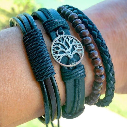 Brown Braided Leather and Tree of Life Charm Multilayer Bracelet Set