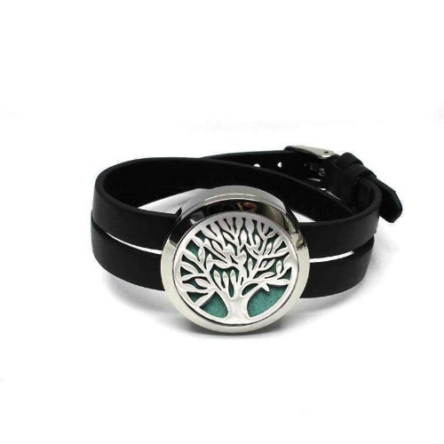 Tree of Life Silver Aromatherapy Essential Oil Diffuser with Adjustable Strap