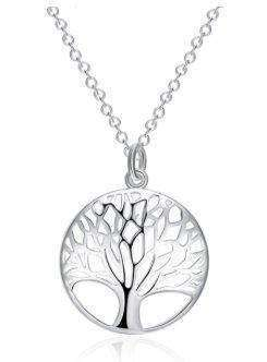 Tree Of Life Silver Plated Necklace With Adjustable Change