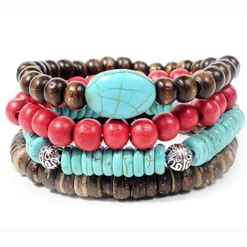 Turquoise and Cherry Beads Leather, and Hemp Boho Hippie Bracelet Set