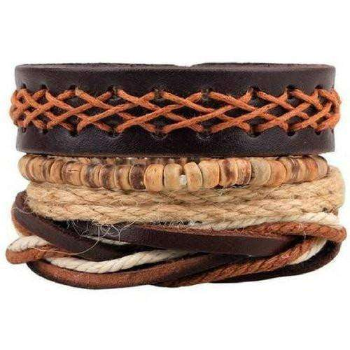 Vast Earth Wide Brown Crisscross Leather Multilayer Bracelet Set