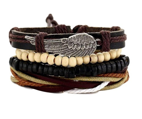 Winged Leather Coconut Braided Multilayer Leather, Bead and Hemp Boho Hippie Bracelet Set with Canvas Gift Bag