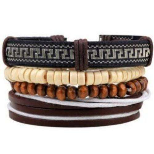 Wooden Bead Anti-war Leather Multilayer Bracelet