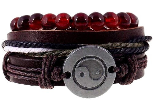 Ying Yang Charm and Red Beads Hemp Hippie Bracelet Set