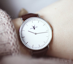 Silver White - Brown Leather - BOLD STAG Uhr