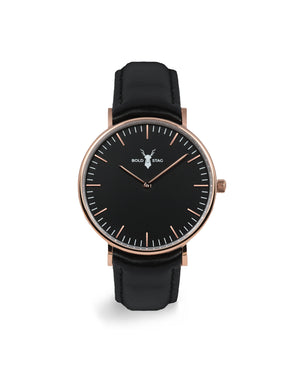 Rose Black - Black Leather - BOLD STAG Uhr