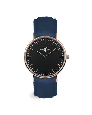 Rose Black - Blue Canvas - BOLD STAG Uhr