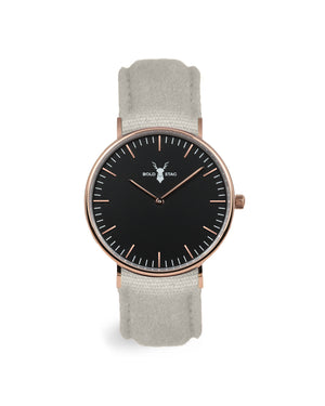 Rose Black - Grey Canvas - BOLD STAG Uhr