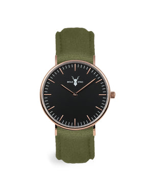 Rose Black - Olive Canvas - BOLD STAG Uhr