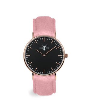 Rose Black - Pink Canvas - BOLD STAG Uhr