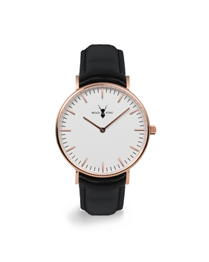 Rose White - Black Leather - BOLD STAG Uhr