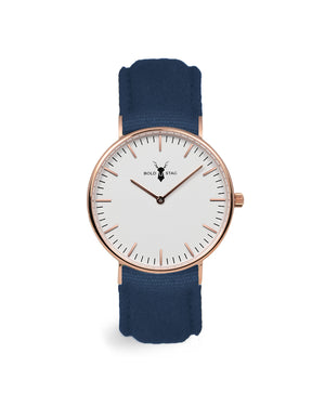 Rose White - Blue Canvas - BOLD STAG Uhr