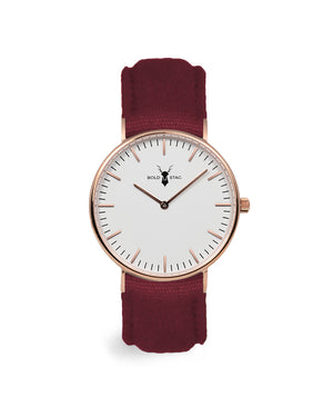 Rose White - Bordeaux Canvas - BOLD STAG Uhr