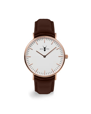 Rose White - Brown Leather - BOLD STAG Uhr