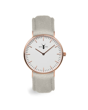 Rose White - Grey Canvas - BOLD STAG Uhr