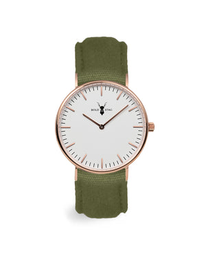 Rose White - Olive Canvas - BOLD STAG Uhr