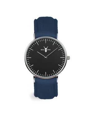 Silver Black - Blue Canvas - BOLD STAG Uhr