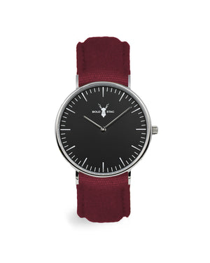Silver Black - Bordeaux Canvas - BOLD STAG Uhr