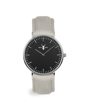 Silver Black - Grey Canvas - BOLD STAG Uhr